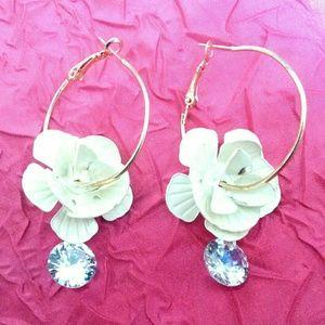 White Enamel Flower Crystal Drop Hoop Earrings